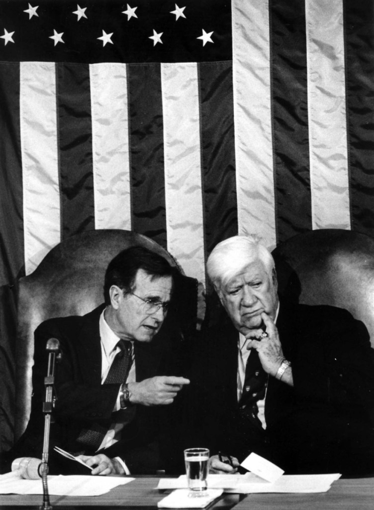 """Vice President George H.W. Bush and House Speaker Thomas """"Tip"""" O'Neill during a Joint Session of Congress on March 20, 1985 in Washington, D.C."""