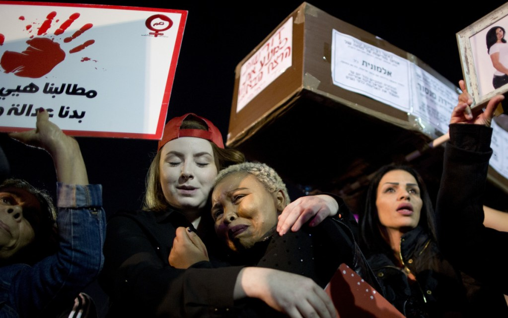 Tens of thousands protest Tuesday in Tel Aviv, urging the government to make good on promises last year to combat violence against women. Demonstrations took place in every major city across Israel.