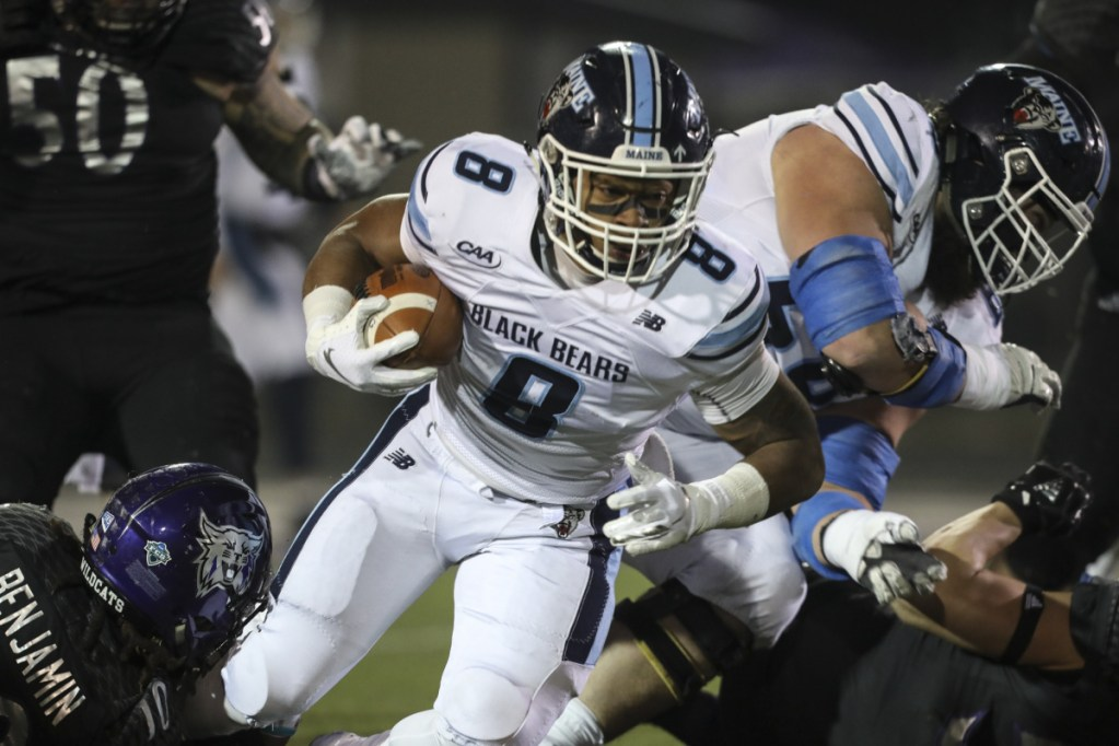 Maine running back  Ramon Jefferson runs the ball in the first half of the Black Bears' 23-18 win over Weber State in the FCS quarterfinals on Friday night in Ogden, Utah.