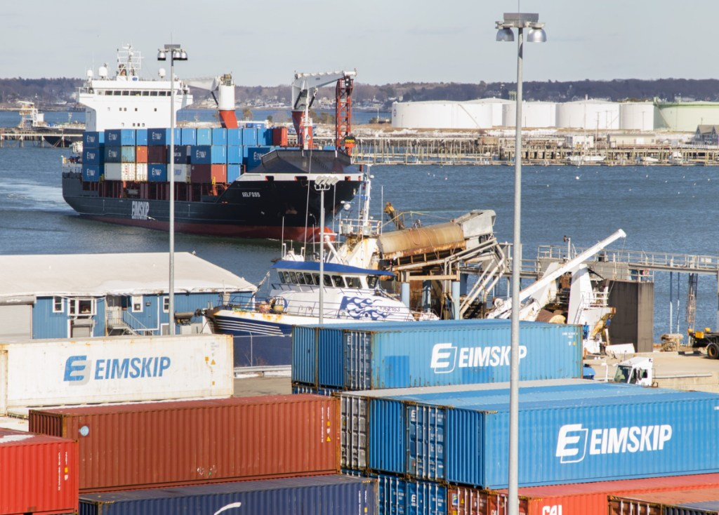 An Eimskip container ship arrives at the Maine Port Authority on Commercial Street in Portland last March. Volume on Eimskip's trans-Atlantic line has grown 40 percent during 2018, the Iceland company says.