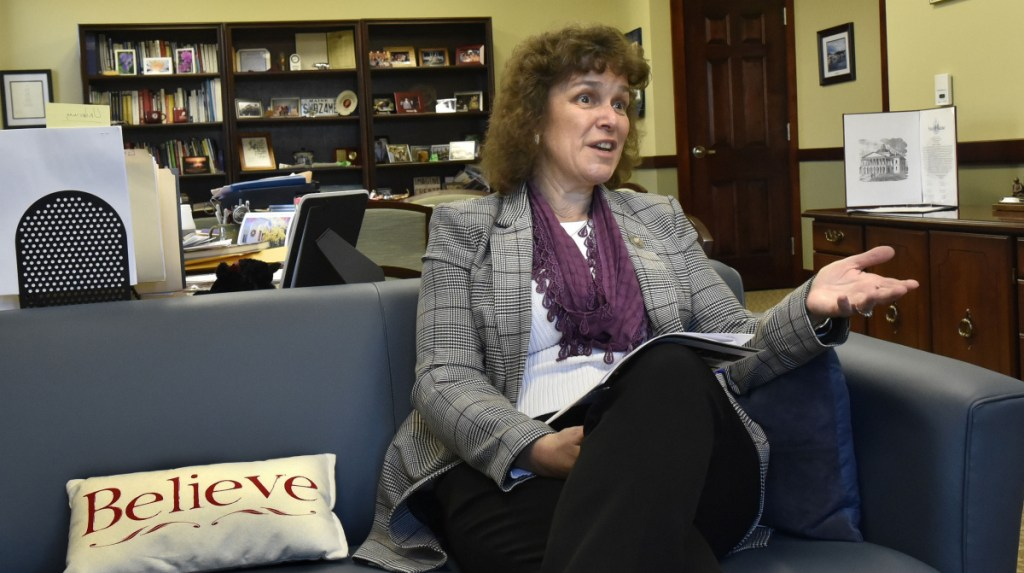 Thomas College President Laurie Lachance addresses growth at the Waterville college in her office recently. The college's enrollment has doubled in the last 25 years. It has added eight new buildings, and its endowment has grown from $373,325 in 1993-1994 to $13.2 million.