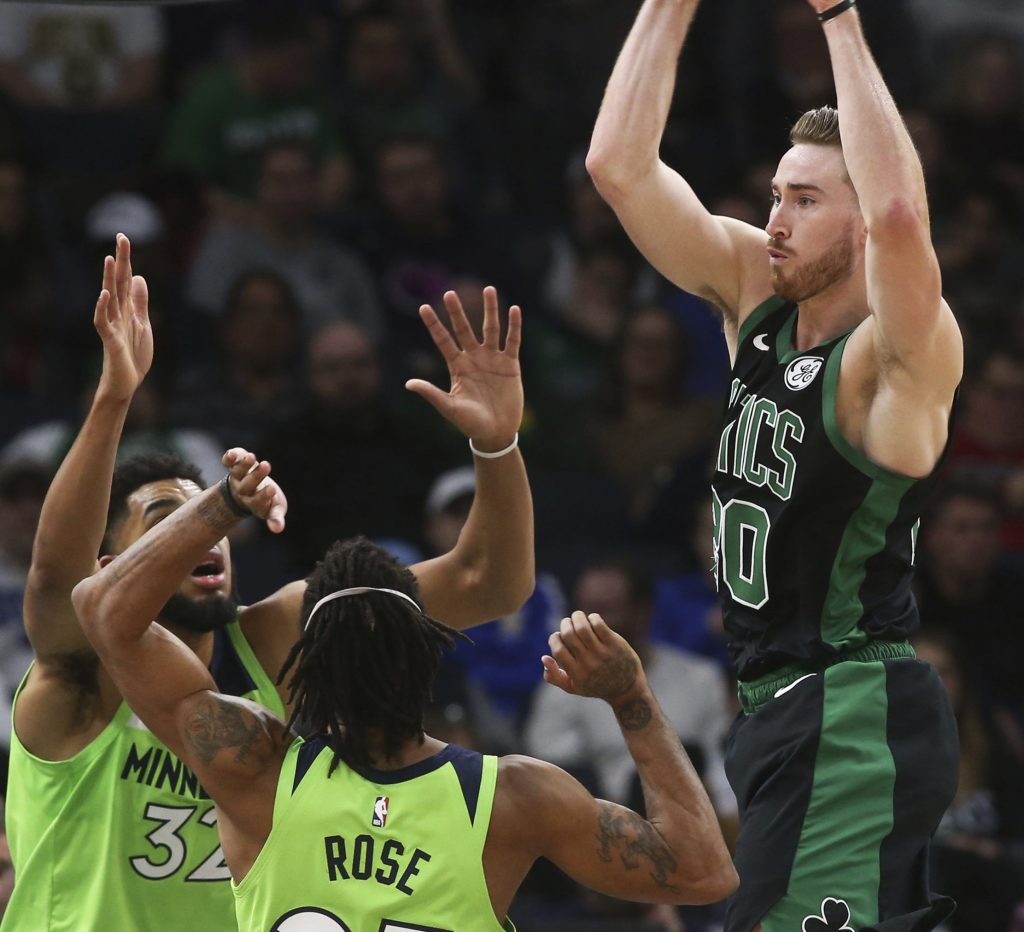 Gordon Hayward didn't just find his shooting touch Saturday night for the Boston Celtics, but got to the foul line, rebounded and passed well in a 118-109 victory against the Minnesota Timberwolves.
