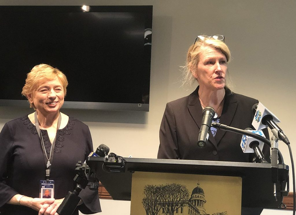 """Gov.-elect Janet Mills has chosen Jeanne Lambrew, right, a Mainer who was a health policy expert in the Obama administration, to be commissioner of the Maine Department of Health and Human Services. Mills said Lambrew is the right person to put in charge of """"rebuilding"""" the department."""