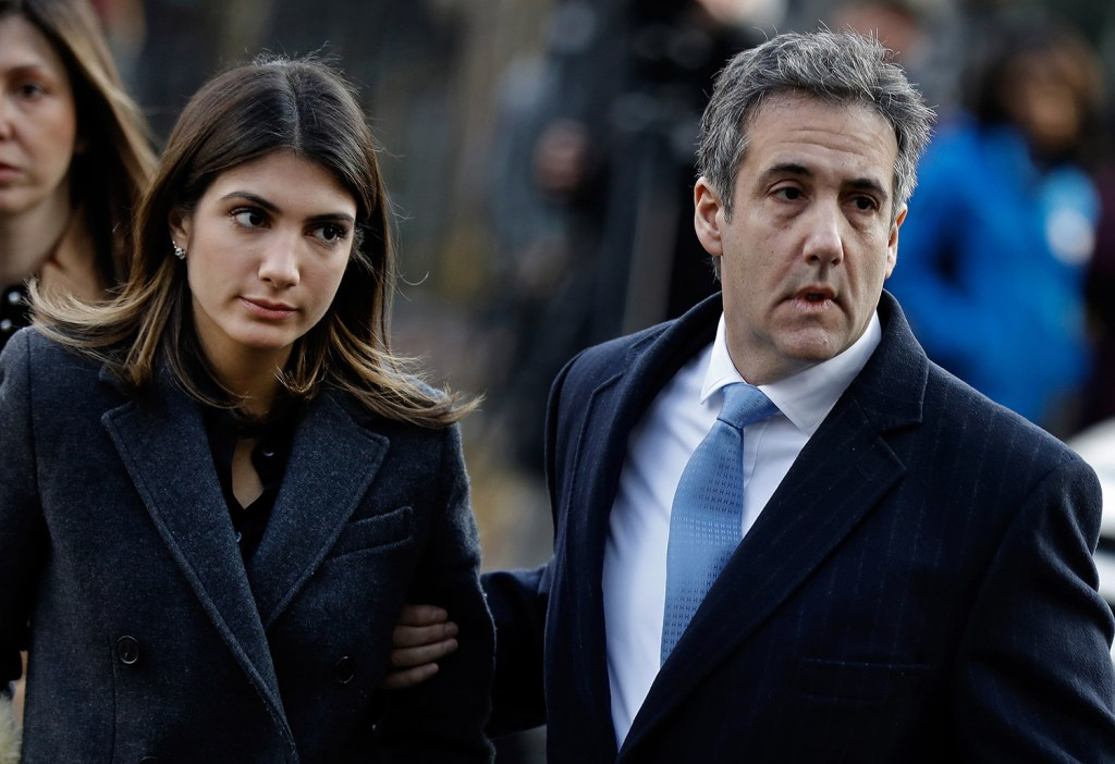 Michael Cohen, former personal lawyer to President Trump, arrives at federal court in New York with his daughter Samantha Cohen on Wednesday.