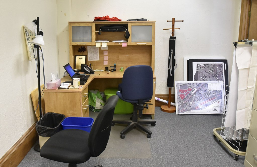 This small office space beside the mayor and city manager's offices in Waterville City Hall has been used by the Sustain Mid-Maine Coalition organization at no charge. Mayor Nick Isgro is seeking to end the organization's use of the office.