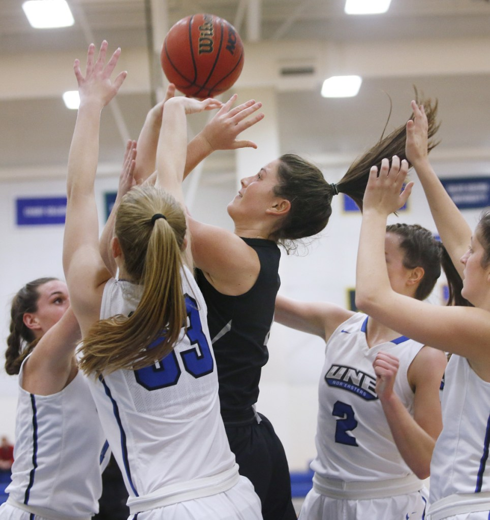 Maddie Hasson leads Bowdoin in scoring with 14.0 points a game and is second in rebounding with 3.7.