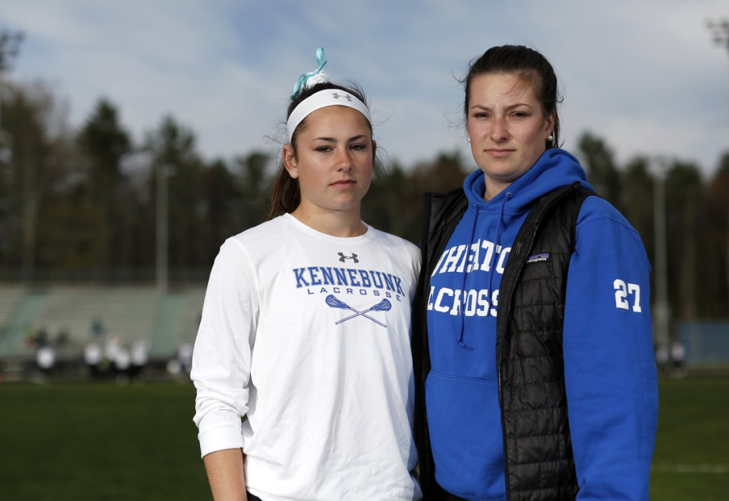 "Sisters Hallie, left, and Kyra Schwartzman both suffered concussions while playing soccer for Kennebunk High School, where their father, Joe Schwartzman, is athletic director. ""It's just the nature of the sport,"" Hallie said."