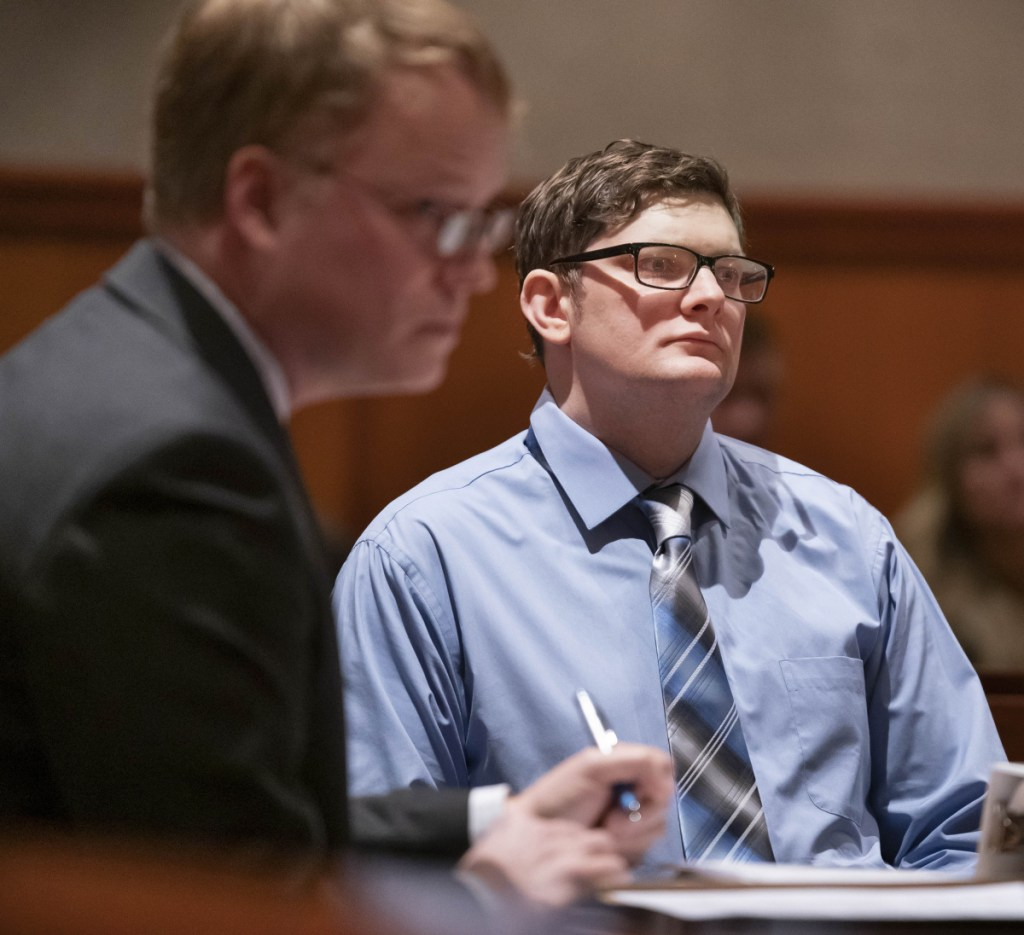 Murder defendant Noah Gaston, right, listens during a court hearing Tuesday on admissible evidence. At left is James Mason, one of his attorneys.