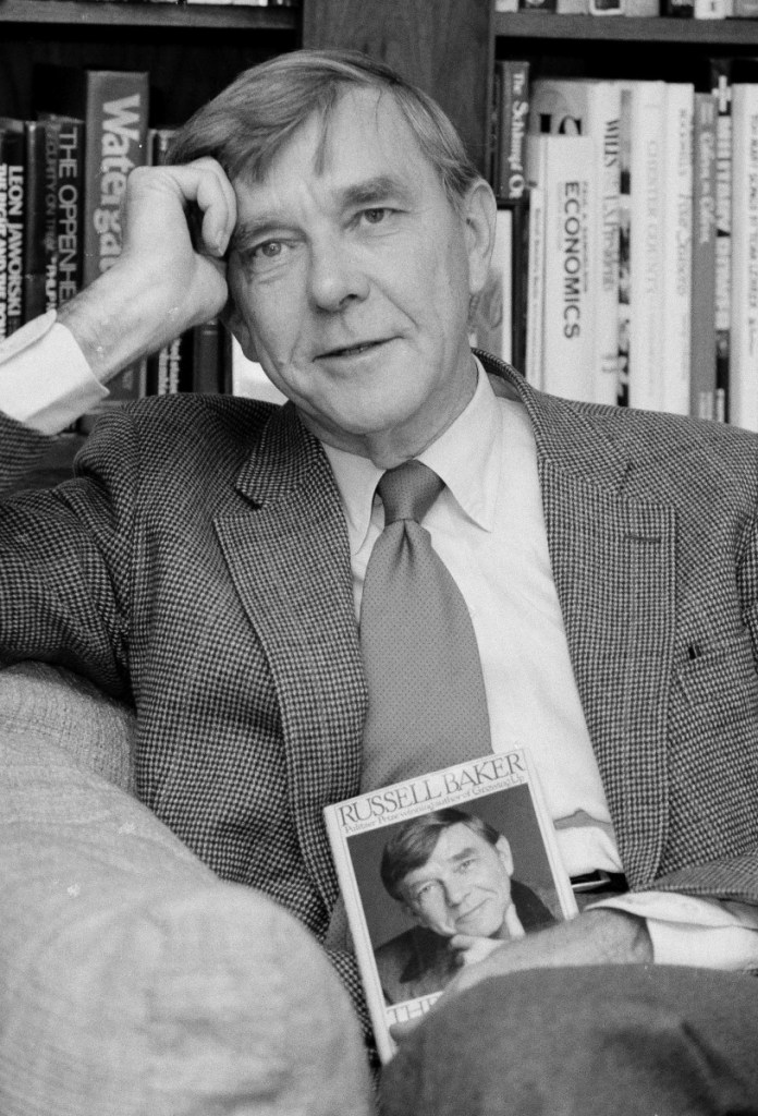 New York Times columnist and Pulitzer Prize-winning author Russell Baker poses in his office at the New York Times in 1983. Baker died Monday at the age of 93 from complications after a fall.