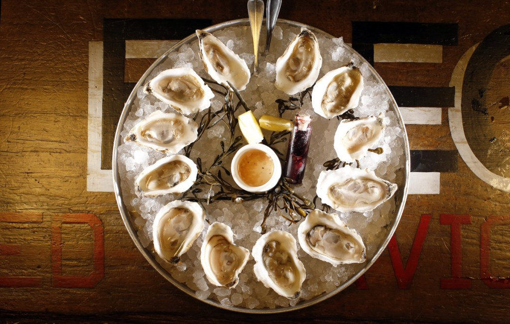 A serving of 12 oysters – six different varieties – from Maine Oyster Co.