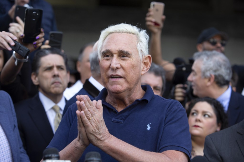 Roger Stone, former adviser to Donald Trump's campaign, speaks to members of the media outside federal court in Fort Lauderdale, Fla., on Friday.