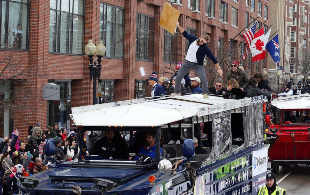 Patriots receiver Julian Edelman had fun on top of a duck boat in 2015, a scene that New England fans have grown quite familiar with.