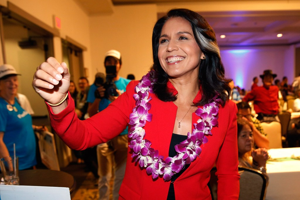Rep. Tulsi Gabbard, D-Hawaii, greets supporters in Honolulu in November 2018. Gabbard has announced she's running for president in 2020.