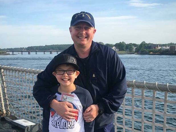 Lindsay Scott's husband and 11-year-old son. Her husband has been in the Coast Guard for nearly 20 years and is gone 200 days out of the year.