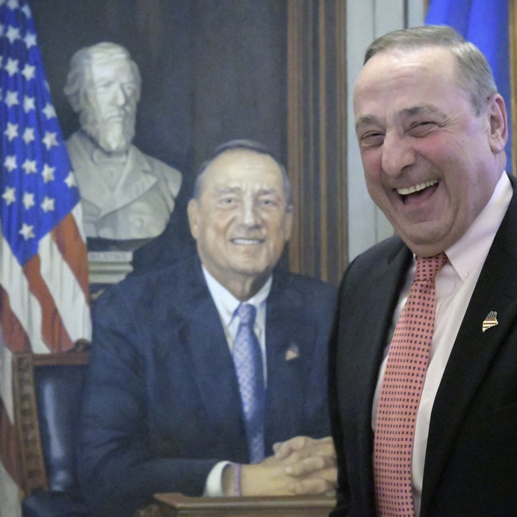 Former Gov. Paul LePage, seen at the unveiling of his official portrait, lives in Florida now but is still complaining about Maine on local talk radio.