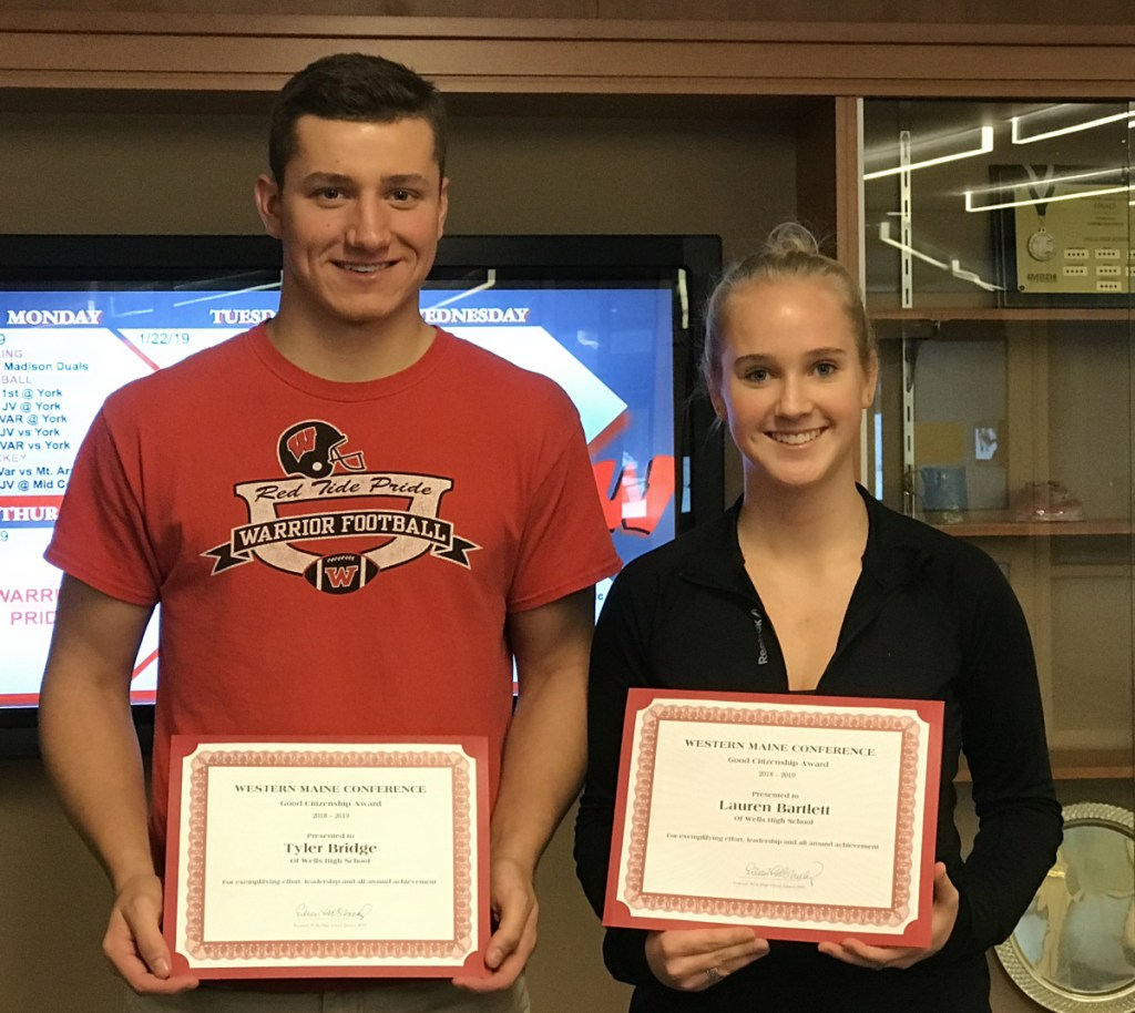 Wells High School student-athletes Tyler Bridge and Lauren Bartlett receive the Western Maine Conference Citizenship Award for 2019.