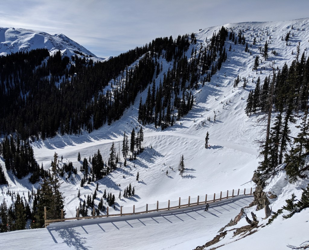 Highline Ridge, right, connects the top of Taos Ski Valley resort and Kachina Peak, which has the fourth-highest lift in North America.