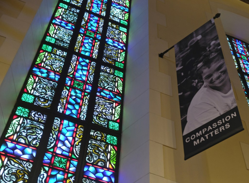 A banner hangs in the sanctuary at the liberal Glide Memorial United Methodist Church in San Francisco. Long-simmering divisions over same-sex marriage and the ordination of LGBT clergy will be addressed this weekend at a Methodist conference in St. Louis.