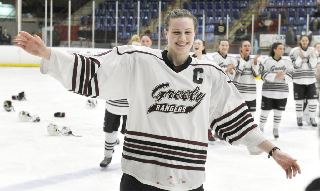 Greely High's Courtney Sullivan was winner of the inaugural Becky Schaffer Award last winter. On Monday, four finalists were named for this year's award. (Photo by John Ewing/Staff Photographer)