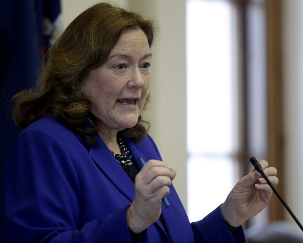 Chief Justice Leigh Saufley delivers her annual State of the Judiciary address to the Legislature on Tuesday at the State House. She told lawmakers that Maine needs juvenile justice alternatives to Long Creek.