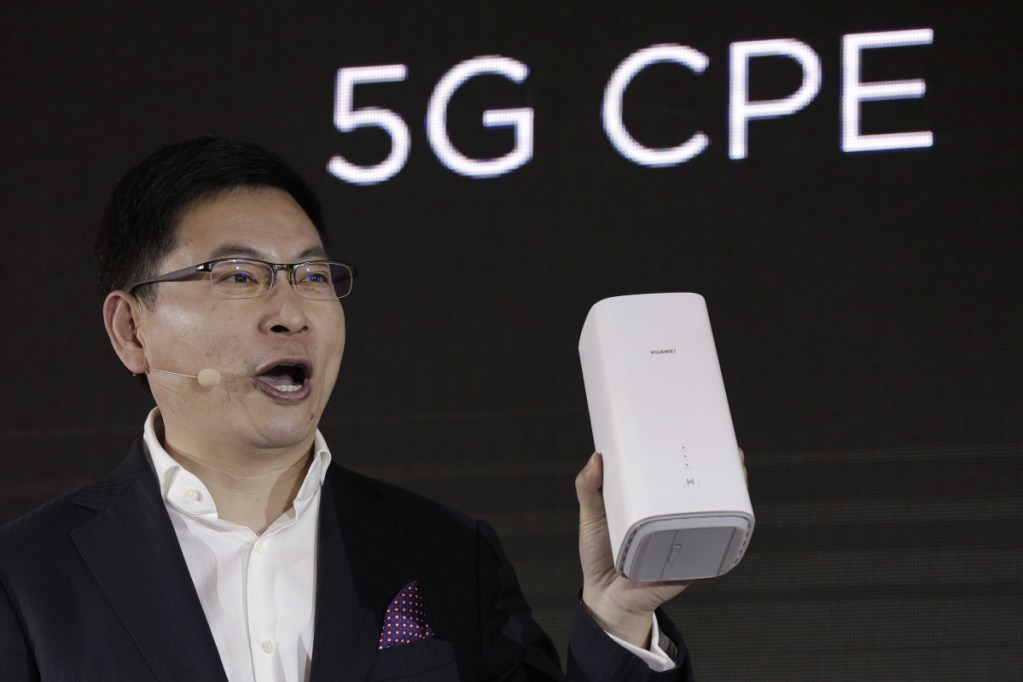 Richard Yu, CEO of the Huawei consumer business group, speaks as he unveils the wireless router running with 5G modem Balong 5000 chipset in Beijing.
