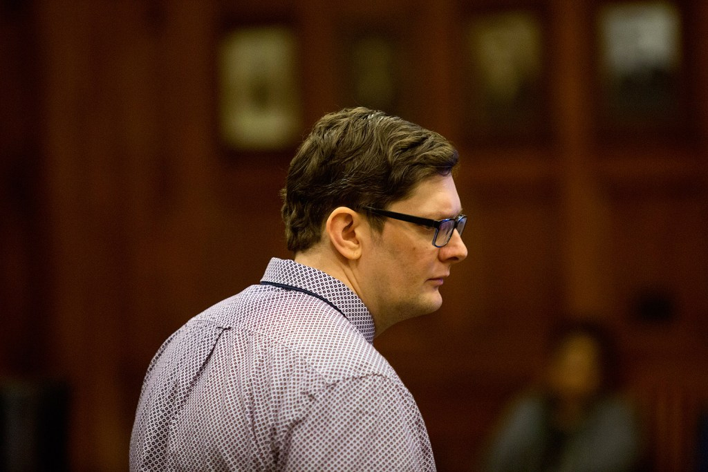 Noah Gaston arrives in court Monday for his trial in the death of his wife, Alicia Gaston, who was 34 when he shot her in the stairwell of their home in Windham on Jan. 14, 2016. On Tuesday, Justice Michaela Murphy postponed testimony.