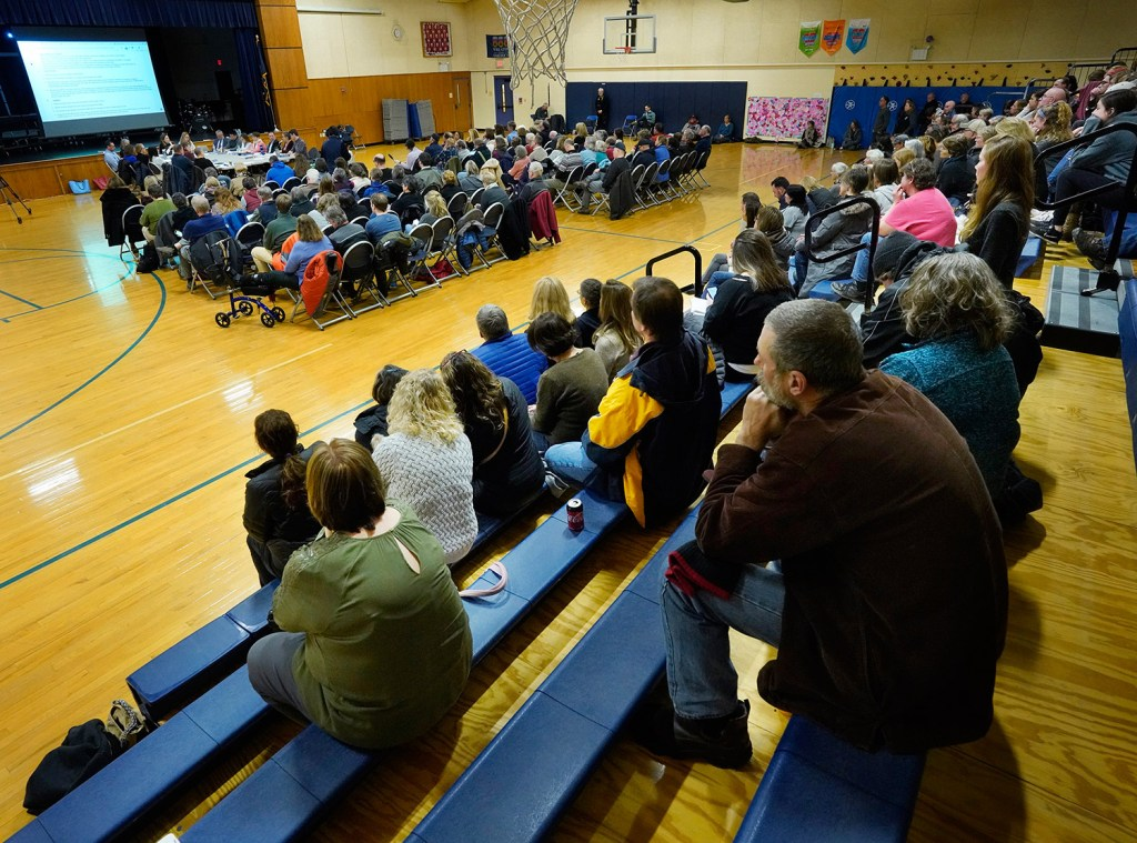 Because of the large turnout, Monday's RSU 21 school board meeting was held in the gymnasium at Kennebunk Elementary School. More than 200 people attended the meeting.
