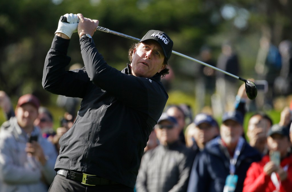 Phil Mickelson finished off his victory at Pebble Beach on Monday.