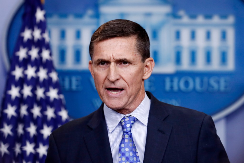 In this Feb. 1, 2017 file photo, National Security Adviser Michael Flynn speaks during the daily news briefing at the White House, in Washington. The Democrat-led House oversight committee launched an investigation Tuesday into whether senior officials in President Donald Trump's White House worked to transfer nuclear power technology to Saudi Arabia as part of a deal that would financially benefit prominent Trump supporters.  The proposal was pushed by former National Security Adviser Michael Flynn, who was fired in early 2017, but it has remained under consideration by the Trump administration despite concerns from Democrats and Republicans that Saudi Arabia could develop nuclear weapons if the U.S. technology was transferred without proper safeguards.