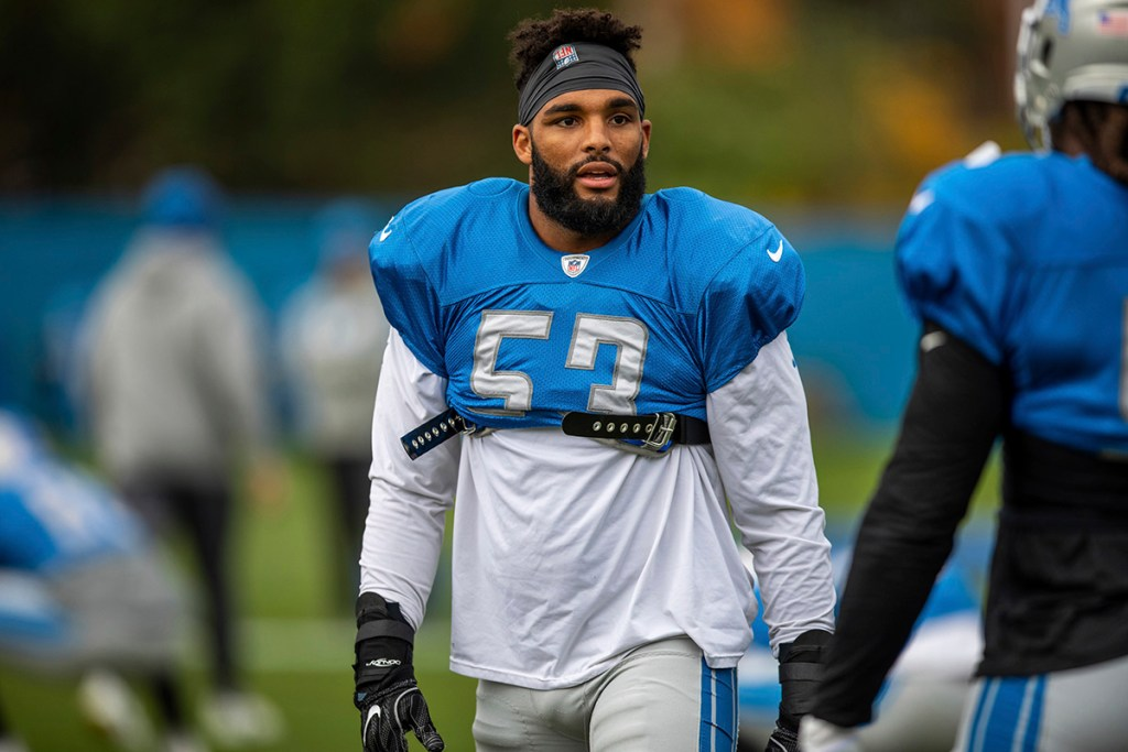 Detroit Lions linebacker Trevor Bates (53) during practice at the Detroit Lions training facility on Wednesday, Oct. 31, 2018 in Allen Park, Mich.