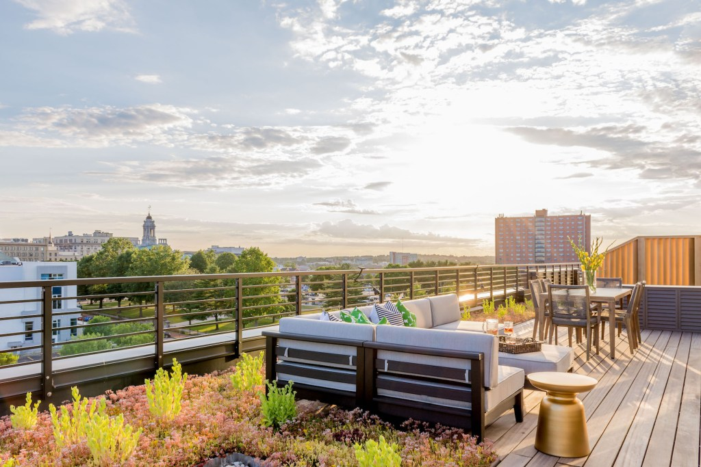 A penthouse view from Verdante, looking to Lincoln Park and the Portland cityscape.