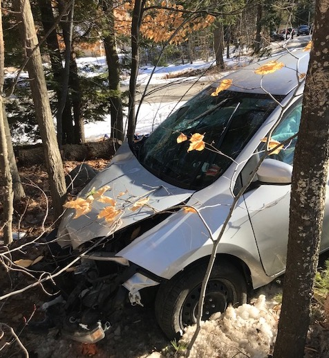 A pedestrian was killed when a car left the roadway and struck her on Whites Bridge Road in Standish on Monday.