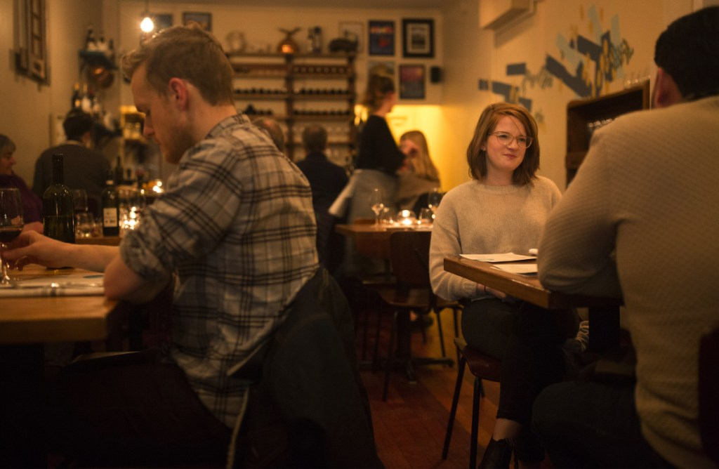 Susannah Gleason, right, dines at Piccolo with her friend Daniel Rios on Feb. 28.