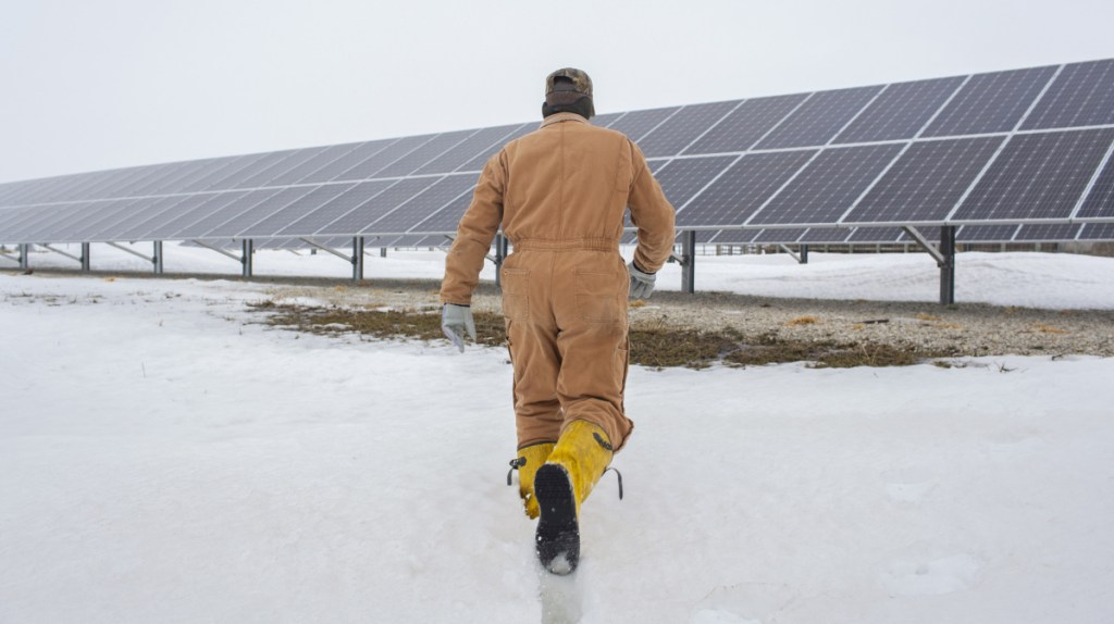 Randy DeBaillie has installed solar panels at his farm in Orion, Ill. He plans to add more in the spring, on 15 acres that previously were used to grow corn and soybeans.