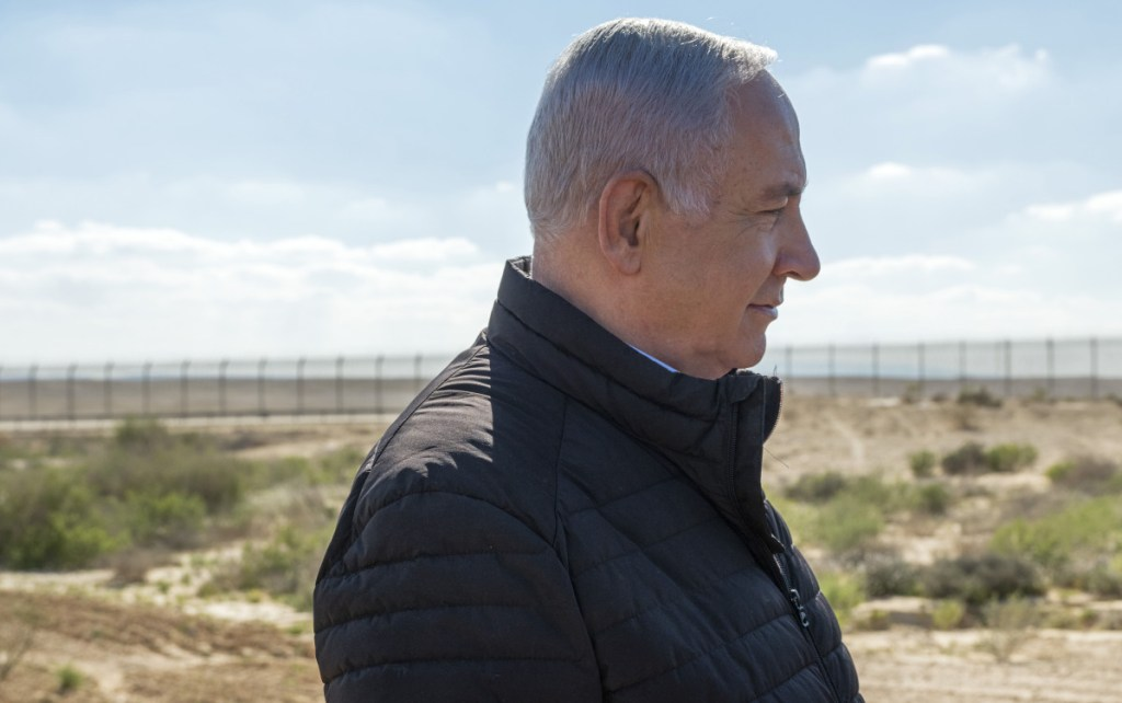 Israel's Prime Minister Benjamin Netanyahu visits the southern border with Egypt at Nitzana, Israel, in the Negev Desert on Thursday.