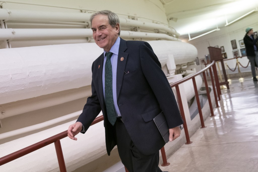"""House Budget Committee Chairman John Yarmuth, D-Ky., walks through the Capitol in Washington on Monday as President Trump's 2020 budget is delivered to his committee. """"Nobody has to advise Nancy on the political implications of any policy,"""" he said of House Speaker Nancy Pelosi."""