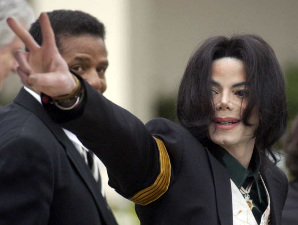 Michael Jackson arrives for his child molestation trial in 2005 at the Santa Barbara County Superior Court in Santa Maria, Calif.