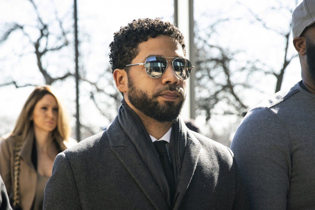 """Empire"" actor Jussie Smollett arrives for a hearing Tuesday in Chicago."
