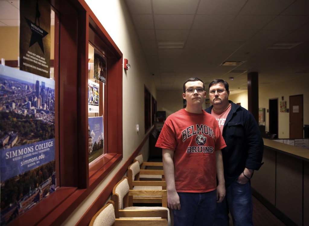 South Portland High School senior Aaron Matthews, left, and his father, Dick Matthews, the local school board's chairman, expressed dismay Wednesday over the national college admissions fraud uncovered by the FBI.
