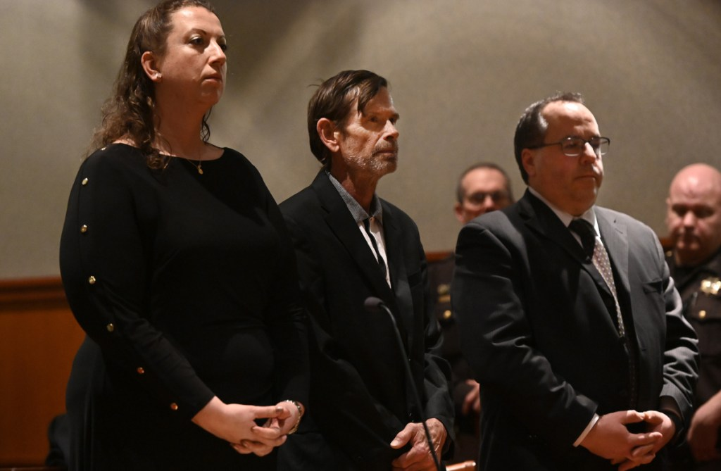 Gregory Vance, center, appears in court Tuesday in Portland. To the left is attorney Tina Heather Nadeau and to the right is attorney Robert LaBrasseur. Vance has been charged with murder in the killing of Patricia Grassi.