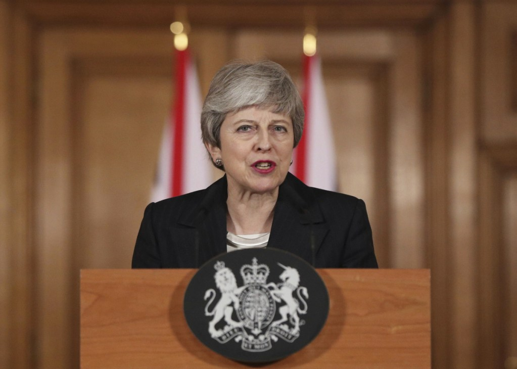 """Britain's Prime Minister Theresa May said Wednesday that it's a matter of """"great personal regret"""" that the U.K. won't leave the EU with a deal on March 29."""