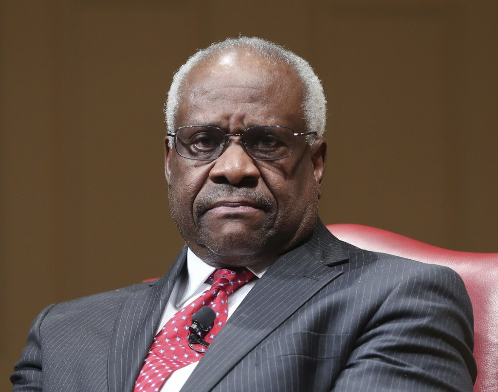 Supreme Court Associate Justice Clarence Thomas appears at an event at the Library of Congress in Washington last year.