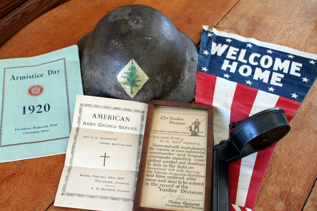 Keepsakes from World War I are among the items Steve Etzel of Farmington discovered in a suitcase in his attic. The church program pictured here is most important, said Etzel, because it is dated exactly 100 years before the discovery of the artifacts.