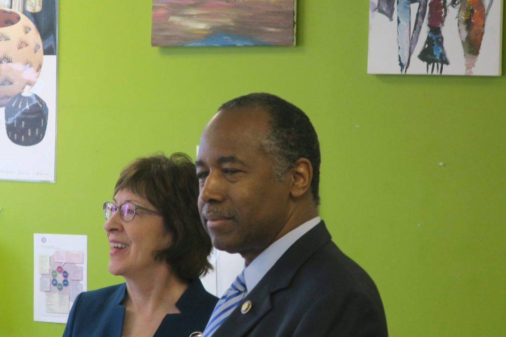 Ben Carson, the nation's housing secretary, and U.S. Sen. Susan Collins of Maine toured the Tree Street Youth Center in Lewiston on Friday.