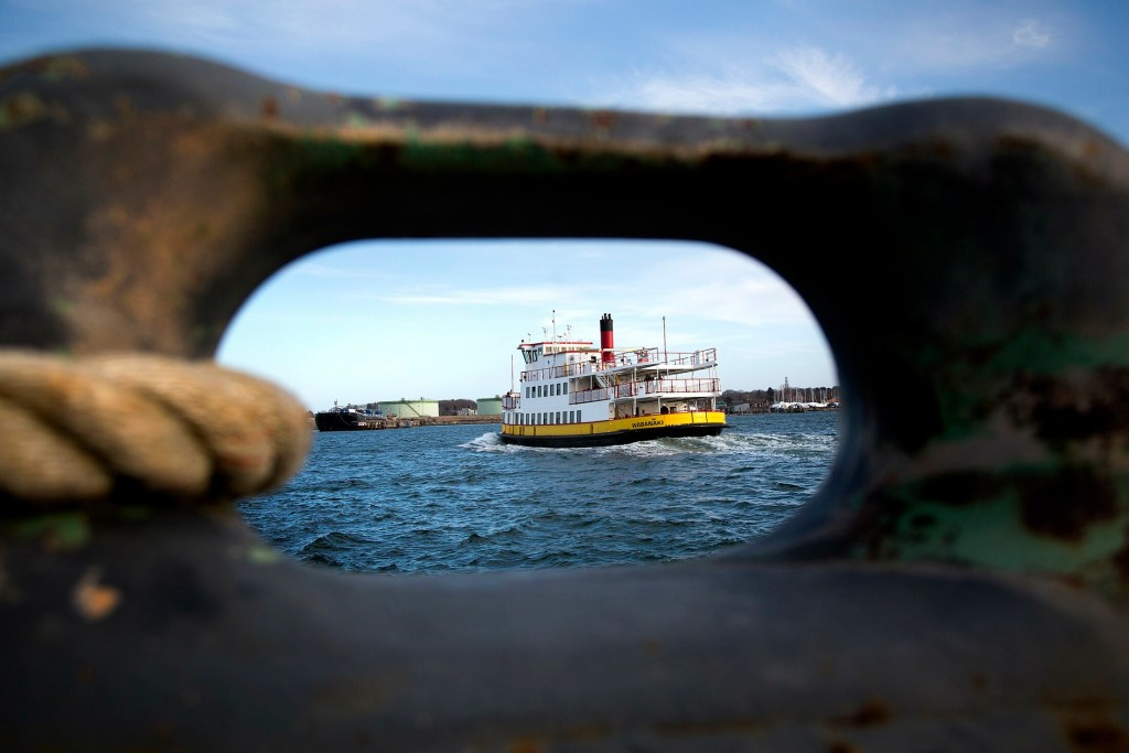 Casco Bay Lines' ferry Wabanaki leaves Portland late Thursday afternoon on its way to Peaks Island. The ferry service is now reconsidering its plan for a larger ferry to serve the island.