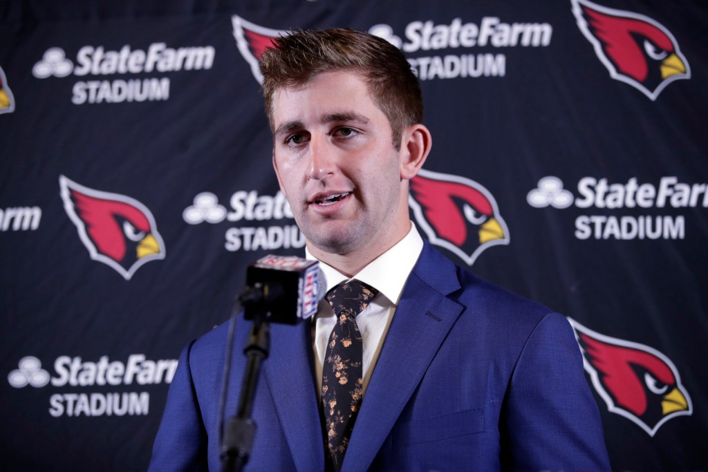 Arizona Cardinals quarterback Josh Rosen fields questions during a post game press conference after an NFL football game against the Los Angeles Chargers Sunday, Nov. 25, 2018, in Carson, Calif. (AP Photo/Jae C. Hong )