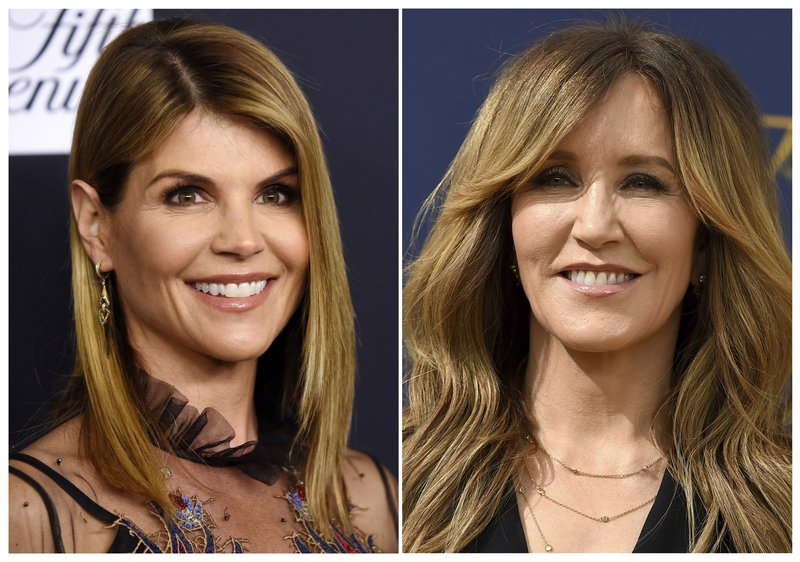 This combination photo shows actress Lori Loughlin, left, and actress Felicity Huffman.