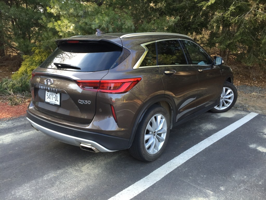 """""""Like many of today's small crossovers, the Infiniti uses a turbocharged 2.0-liter four-cylinder engine."""" Photo by Tim Plouff."""