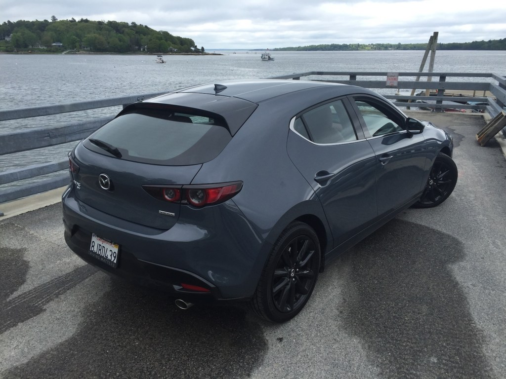 The available AWD system, not offered by Mazda's competitors in this segment, provides foul-weather traction. Photo by Tim Plouff. Location: Cousins Island ferry dock, Yarmouth.
