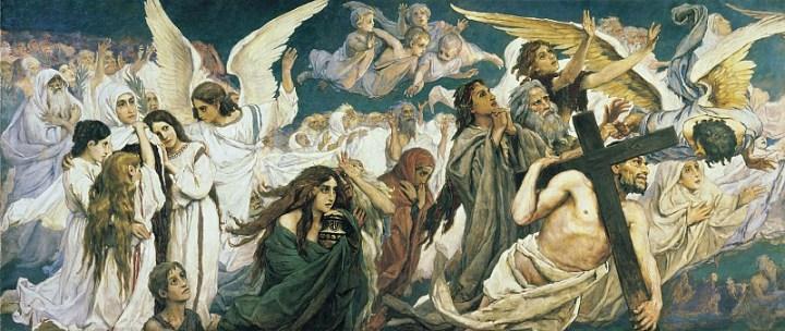 Васнецов: Радость праведных о Господе. Триптих, (левая часть)